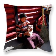 Tibetan Boy Throw Pillow
