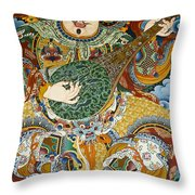 Tibetan Buddhist Mural Throw Pillow