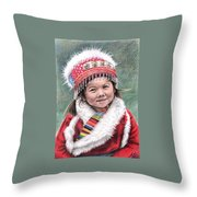 Tibetan Girl Throw Pillow