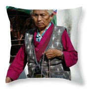 Tibetan Grandmother In Meditation Throw Pillow