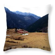 Tibetan Landscape Throw Pillow
