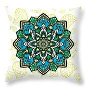 Tibetan Mandala Seamless Pattern Throw Pillow