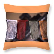 Tibetan Prayer Flags Throw Pillow