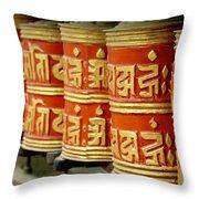 Tibetan Prayer Wheel  Throw Pillow