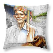 Tibetan Refugee Digital Art Throw Pillow