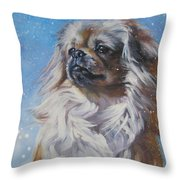 Tibetan Spaniel In Snow Throw Pillow