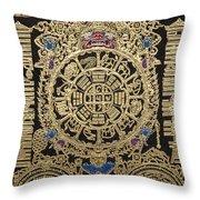 Tibetan Thangka - Tibetan Astrological Diagram Throw Pillow