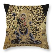 Tibetan Thangka - Vajrapani - Protector And Guide Of Gautama Buddha Throw Pillow