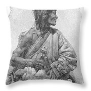 Tibetan With Prayer Wheel Throw Pillow