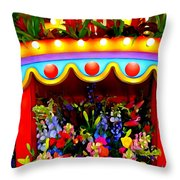 Ticket Booth Of Flowers Throw Pillow