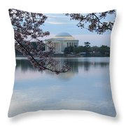 Tidal Basin Blossoms - Jefferson Memorial Throw Pillow
