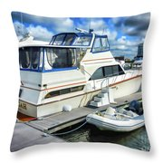 Tidewater Yacht Marina 5 Throw Pillow by Lanjee Chee