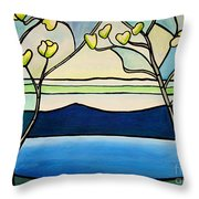 Tiffany And Blossoms Stained Glass Throw Pillow