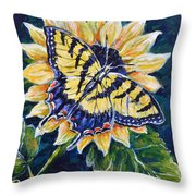 Tiger And Sunflower Throw Pillow
