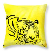 Tiger Animal Decorative Black And Yellow Poster 1 - By   Diana Van Throw Pillow