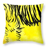 Tiger Animal Decorative Black And Yellow Poster 2 - By Diana Van Throw Pillow