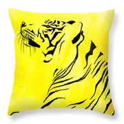 Tiger Animal Decorative Black And Yellow Poster 3 - By  Diana Van Throw Pillow