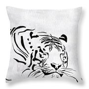 Tiger Animal Decorative Black And White Poster 1 - By  Diana Van Throw Pillow