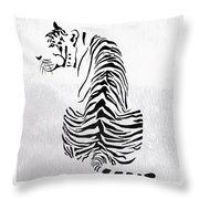 Tiger Animal Decorative Black And White Poster 4 - By  Diana Van Throw Pillow