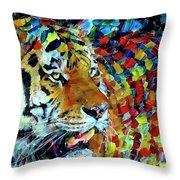 Tiger Big Colors Throw Pillow