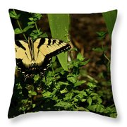 Tiger Butterfly Posing Throw Pillow