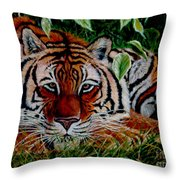 Tiger In Jungle Throw Pillow