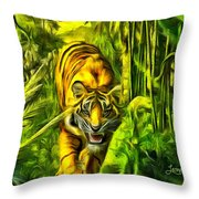 Tiger In The Forest Throw Pillow