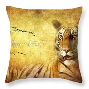 Tiger In The Sun Throw Pillow
