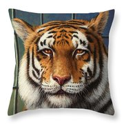 Tiger In Trouble Throw Pillow by James W Johnson