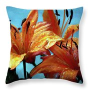 Tiger Lilies After The Rain - Painted Throw Pillow