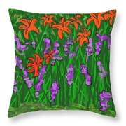 Tiger Lilies And Purple Hostas Throw Pillow