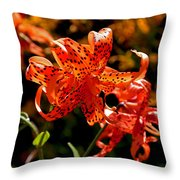 Tiger Lilies Throw Pillow by Rona Black