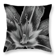 Tiger Lily - Black And White Throw Pillow