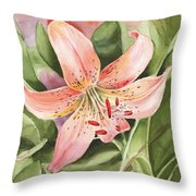 Tiger Lily Watercolor By Irina Sztukowski Throw Pillow