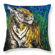 Tiger Night Hunt Throw Pillow