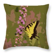 Tiger On Blazing Star Throw Pillow