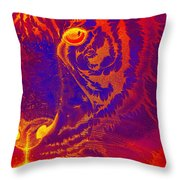 Tiger On Fire Throw Pillow