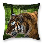 Tiger On The Prowl Throw Pillow