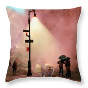 Tiger Suanters The Sloggy Evening Urban Landscape Throw Pillow
