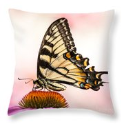 Tiger Swallowtail On Coneflower Throw Pillow