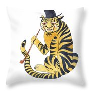 Tiger With Pipe Throw Pillow