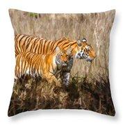 Tigers Burning Bright Throw Pillow