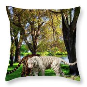 Tigers By The City Throw Pillow