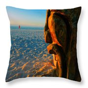 Tiki And The Woman In The Pink Towel Throw Pillow