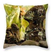 Tiki Carvings In Hatiheu Village, Nuku Throw Pillow