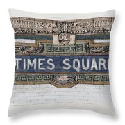 Tile Mosaic Sign, Times Square Subway New York, Handmade Sketch Throw Pillow