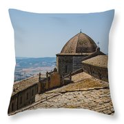 Tile Roof Tops Of Volterra Italy Throw Pillow