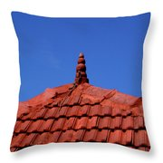 Tiled Roof Near Ooty, India Throw Pillow