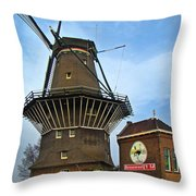 Tilting At Windmills In Amsterdam Throw Pillow