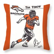Tim Tebow 1 Throw Pillow by Jeremiah Colley